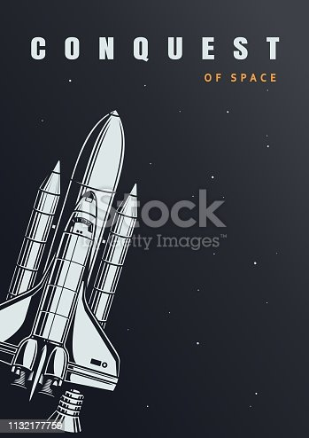 Vintage space exploration poster with flying spaceship vector illustration