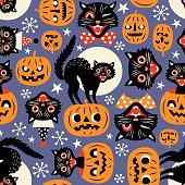 Vintage spooky cats and halloween pumpkins.