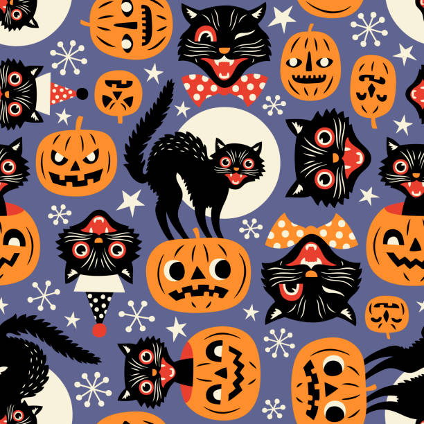 Vintage spooky cats and halloween pumpkins. Seamless vector pattern on purple background. halloween cat stock illustrations