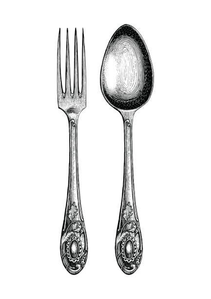 ilustrações, clipart, desenhos animados e ícones de colher de vindima e mão de garfo de desenho, colher e um garfo esboço arte isolado no fundo branco - antiguidades