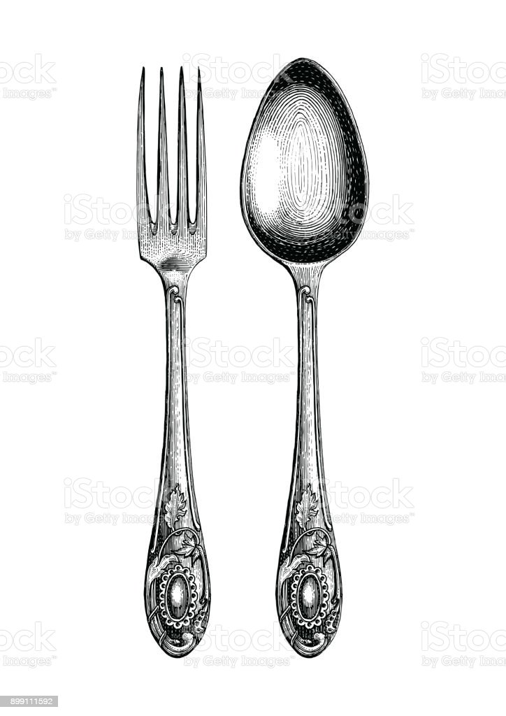 Vintage spoon and fork hand drawing,Spoon and fork sketch art isolate on white background vector art illustration