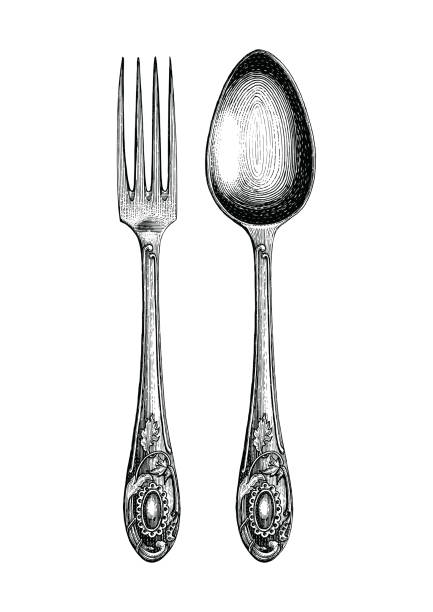 illustrazioni stock, clip art, cartoni animati e icone di tendenza di vintage spoon and fork hand drawing,spoon and fork sketch art isolate on white background - coltello posate