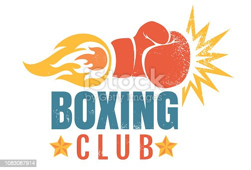 Vector vintage emblem for a boxing with glove and fire. Boxing glove with flame. Vintage sport emblem.