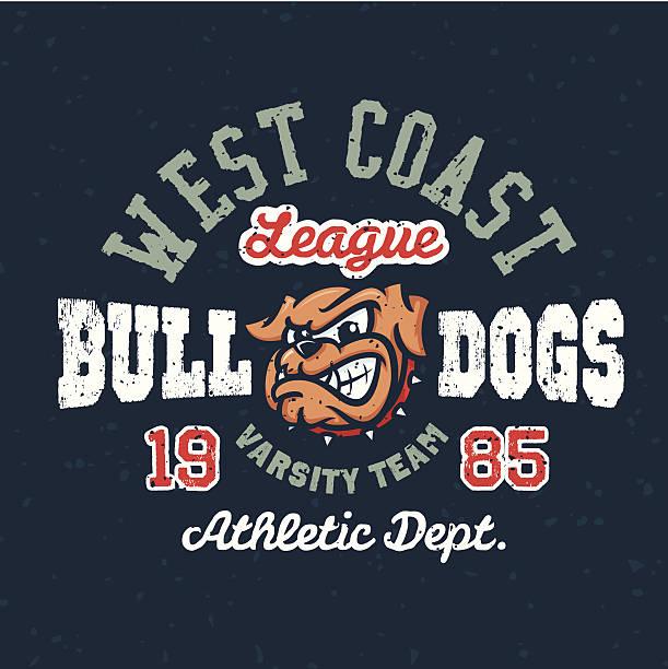 bildbanksillustrationer, clip art samt tecknat material och ikoner med vintage sport varsity apparel t-shirt design - bulldog