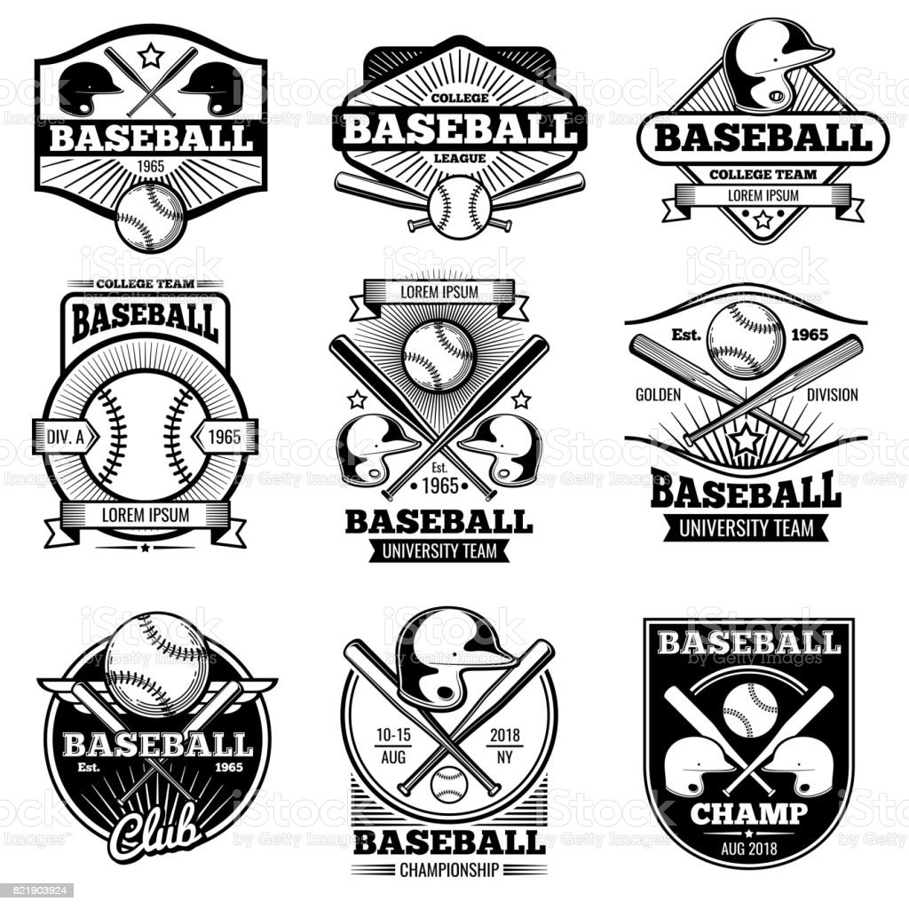 Vintage sports icon design. Retro baseball vector label and badges vector art illustration
