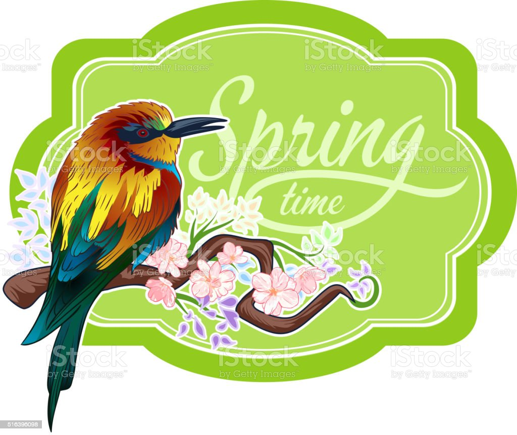 Vintage spring bird vector art illustration