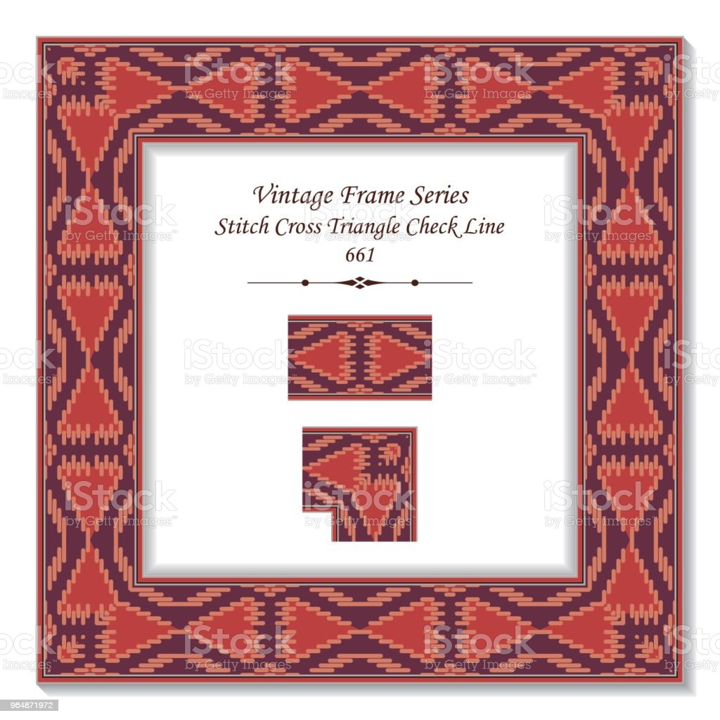 Vintage square 3D frame aboriginal stitch cross triangle check line royalty-free vintage square 3d frame aboriginal stitch cross triangle check line stock vector art & more images of backdrop - artificial scene