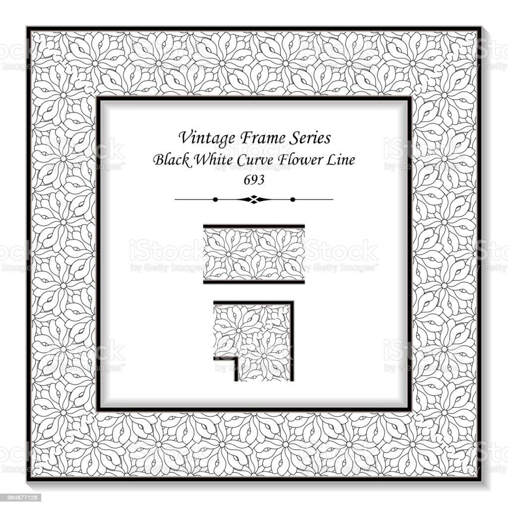 Vintage square 3D frame black white curve flower line royalty-free vintage square 3d frame black white curve flower line stock vector art & more images of baroque style