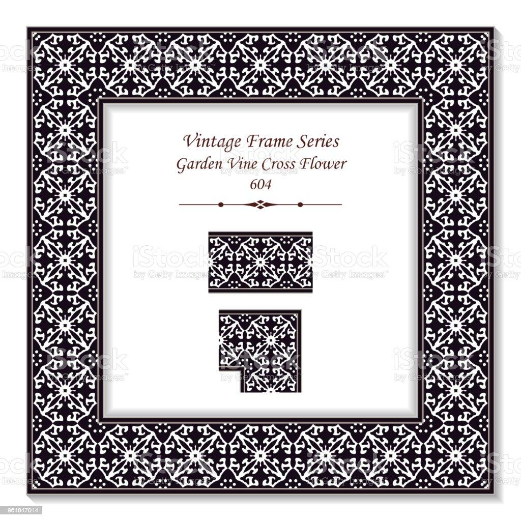 Vintage Quadrat 3d Rahmen Schwarz Weißen Garten Reben Kreuz Blume ...