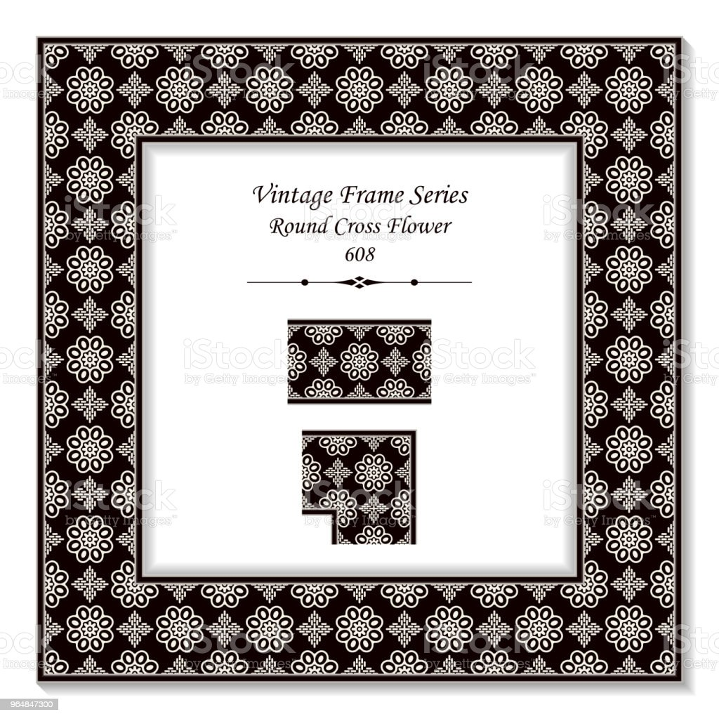 Vintage square 3D frame black white round cross flower royalty-free vintage square 3d frame black white round cross flower stock vector art & more images of backdrop - artificial scene