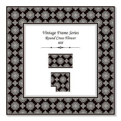 Vintage Square 3d Frame Black White Round Cross Flower Stock Vector Art & More Images of Backdrop - Artificial Scene