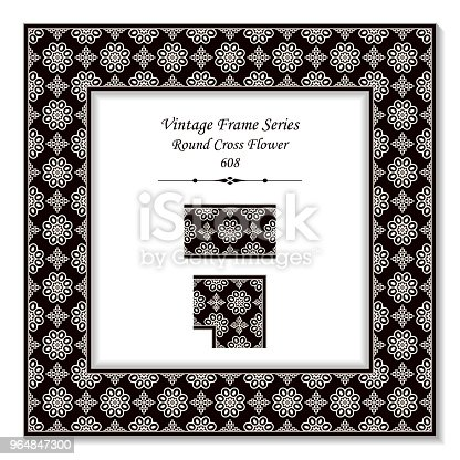Vintage Square 3d Frame Black White Round Cross Flower Stock Vector Art & More Images of Backdrop - Artificial Scene 964847300