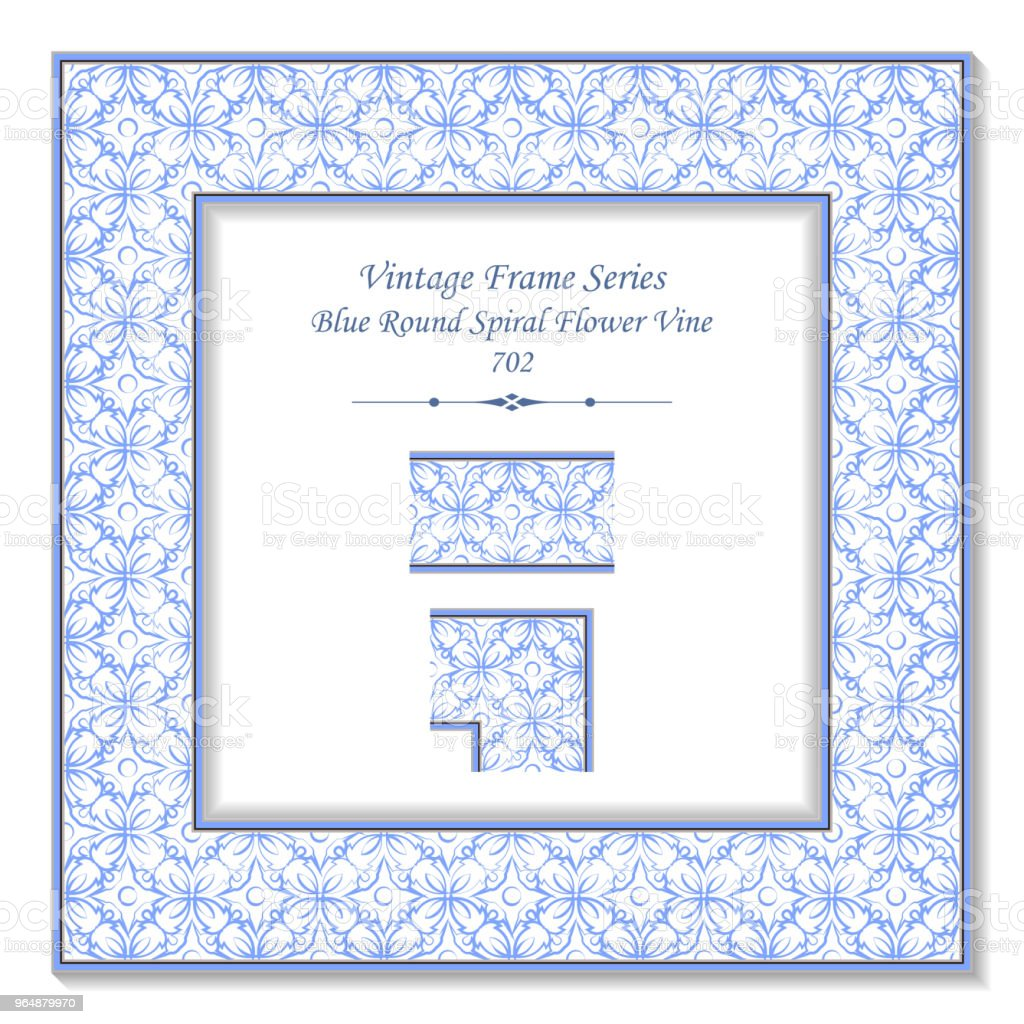 Vintage square 3D frame blue round curve cross flower vine royalty-free vintage square 3d frame blue round curve cross flower vine stock vector art & more images of baroque style
