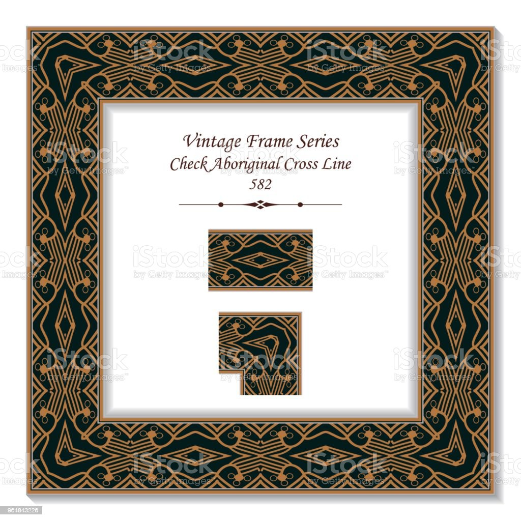 Vintage square 3D frame check aboriginal cross line royalty-free vintage square 3d frame check aboriginal cross line stock vector art & more images of backdrop - artificial scene