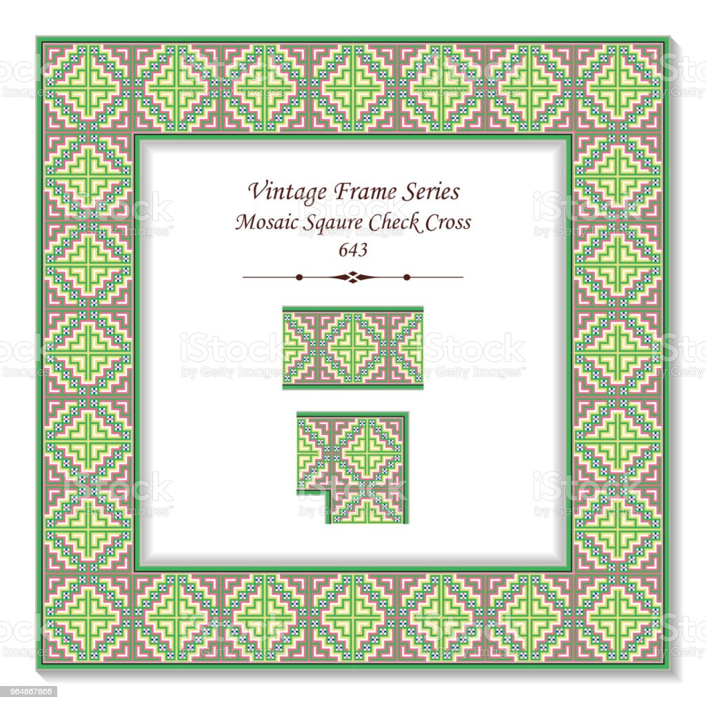 Vintage square 3D frame colorful mosaic square check cross royalty-free vintage square 3d frame colorful mosaic square check cross stock illustration - download image now