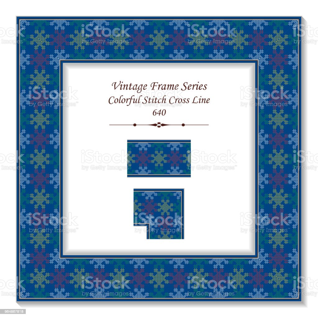 Vintage square 3D frame colorful stitch cross line royalty-free vintage square 3d frame colorful stitch cross line stock vector art & more images of backdrop - artificial scene