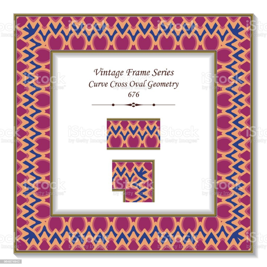 Vintage square 3D frame curve cross oval geometry royalty-free vintage square 3d frame curve cross oval geometry stock vector art & more images of backdrop - artificial scene