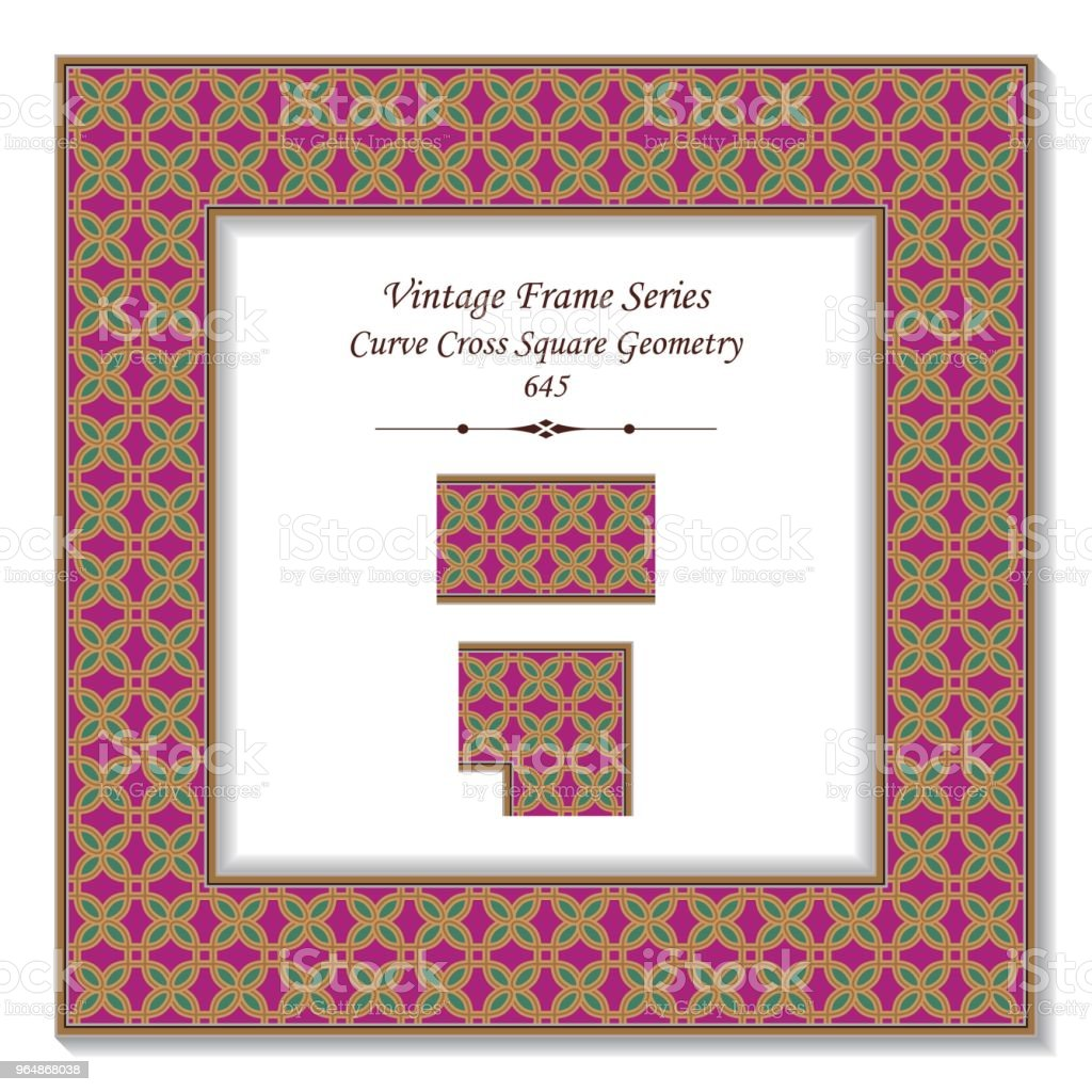 Vintage square 3D frame curve cross square geometry royalty-free vintage square 3d frame curve cross square geometry stock vector art & more images of backdrop