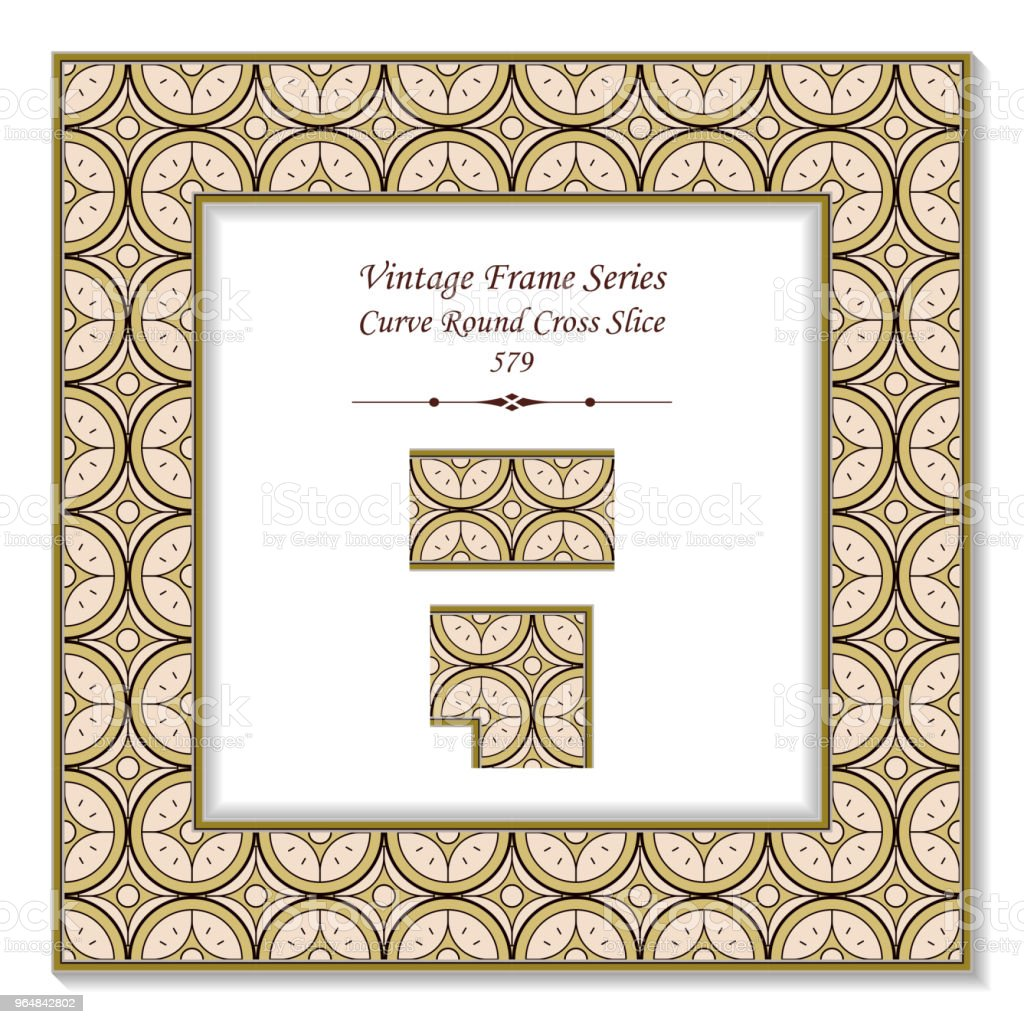 Vintage square 3D frame curve round cross slice royalty-free vintage square 3d frame curve round cross slice stock vector art & more images of backdrop - artificial scene