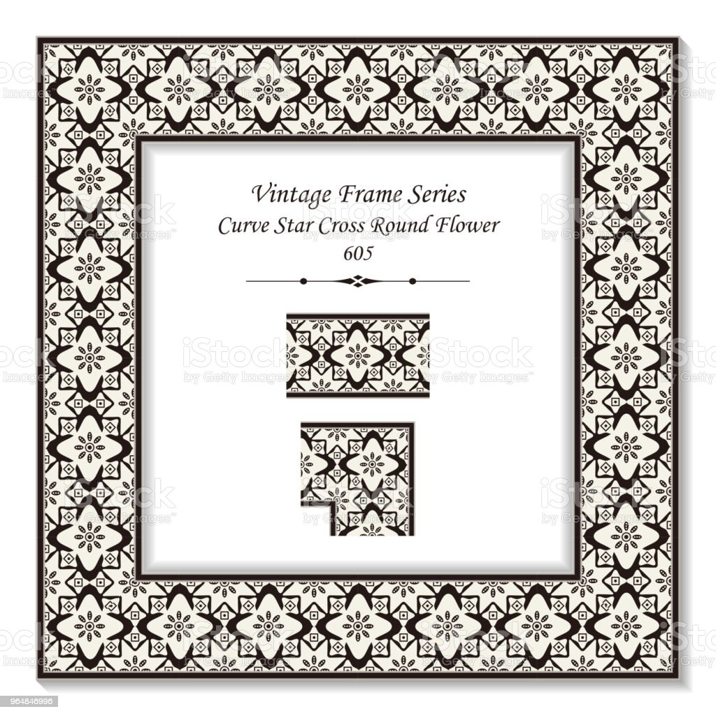 Vintage square 3D frame curve star cross round flower royalty-free vintage square 3d frame curve star cross round flower stock vector art & more images of backdrop - artificial scene