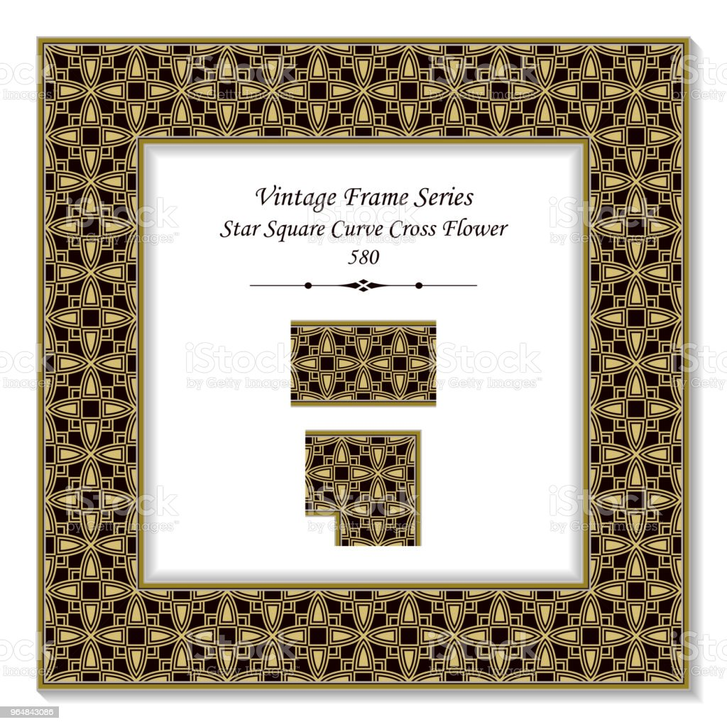 Vintage square 3D frame curve star square cross flower royalty-free vintage square 3d frame curve star square cross flower stock vector art & more images of backdrop - artificial scene
