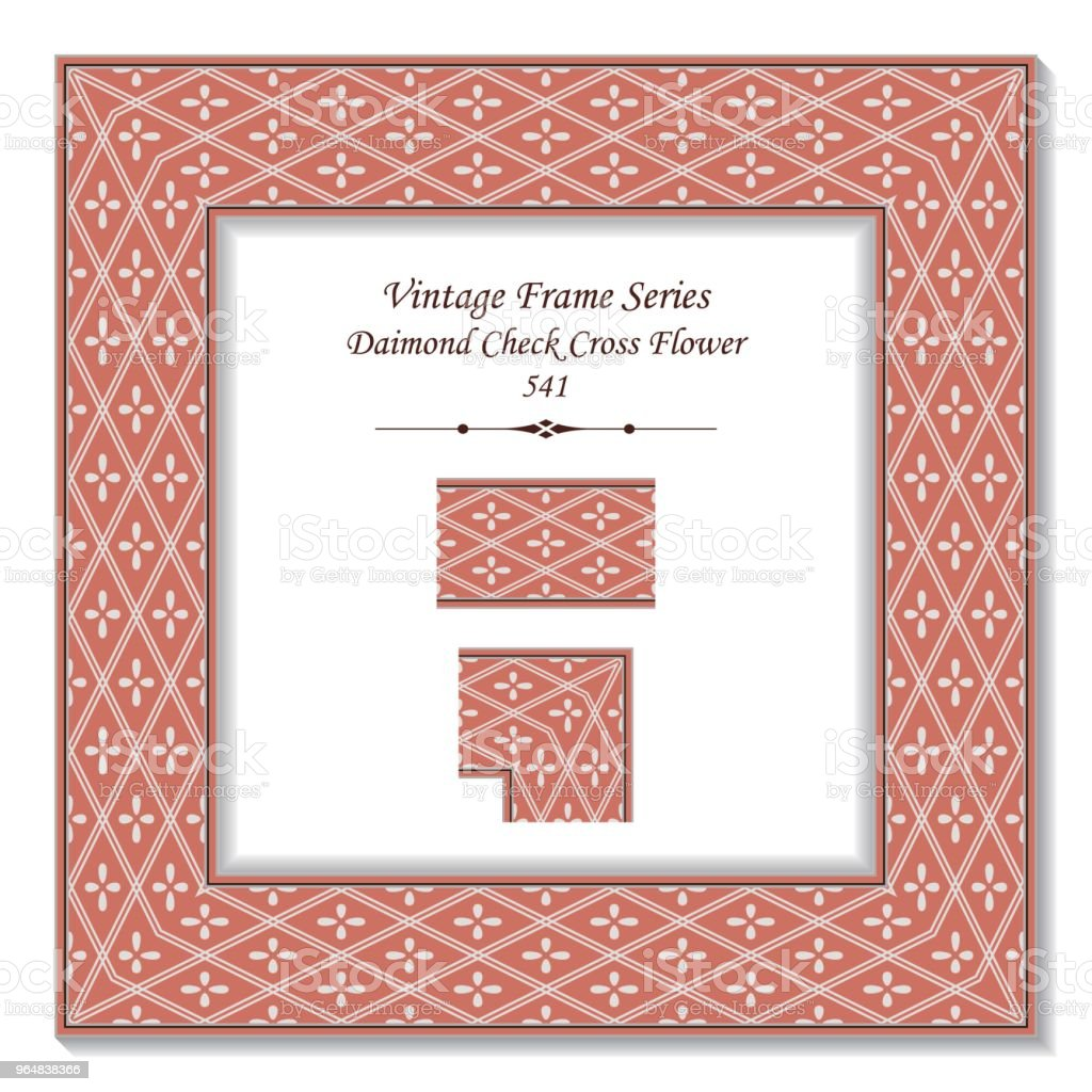 Vintage Square 3d Frame Diamond Check Cross Line Flower Stock Vector ...