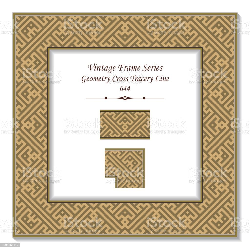 Vintage square 3D frame geometry cross tracery line royalty-free vintage square 3d frame geometry cross tracery line stock vector art & more images of backdrop - artificial scene