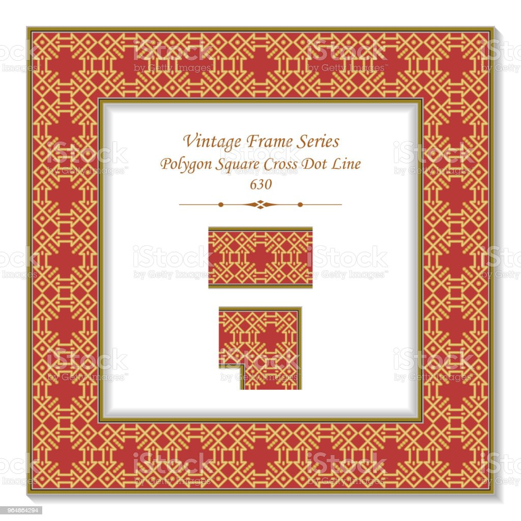 Vintage square 3D frame golden polygon check square cross dot line royalty-free vintage square 3d frame golden polygon check square cross dot line stock vector art & more images of backdrop - artificial scene