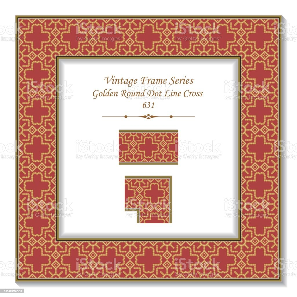Vintage square 3D frame golden round dot line cross royalty-free vintage square 3d frame golden round dot line cross stock vector art & more images of backdrop - artificial scene