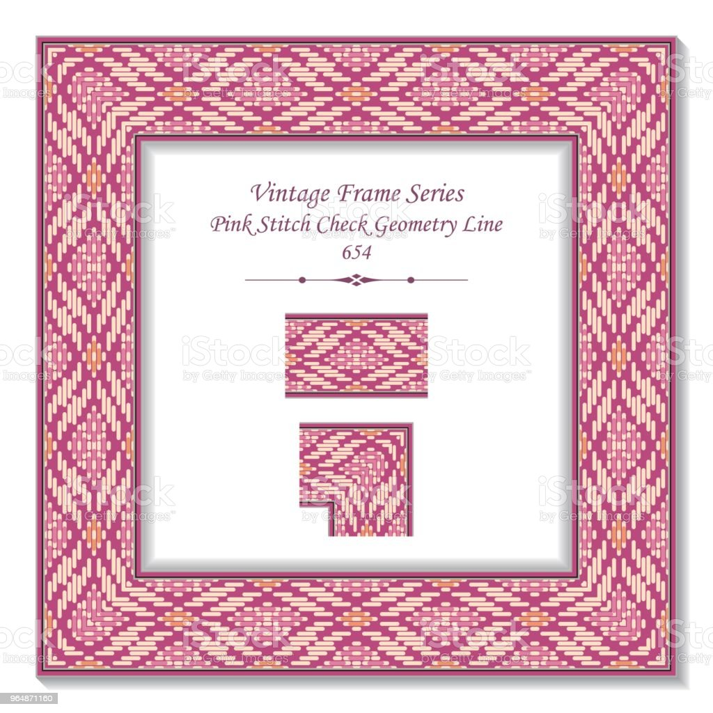 Vintage square 3D frame pink stitch check geometry line royalty-free vintage square 3d frame pink stitch check geometry line stock vector art & more images of backdrop - artificial scene