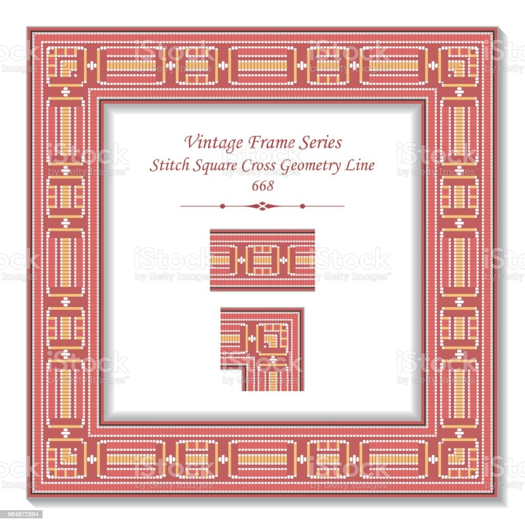 Vintage square 3D frame pink stitch square cross geometry line royalty-free vintage square 3d frame pink stitch square cross geometry line stock vector art & more images of backdrop - artificial scene