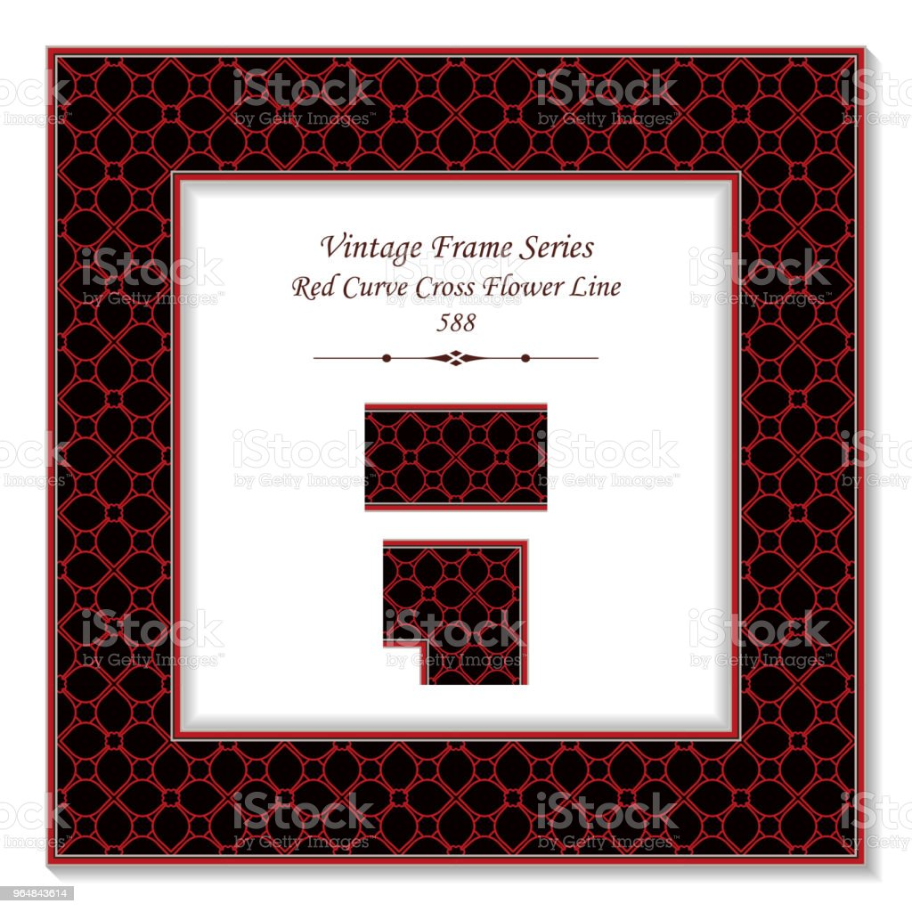 Vintage square 3D frame red curve cross flower line royalty-free vintage square 3d frame red curve cross flower line stock vector art & more images of backdrop