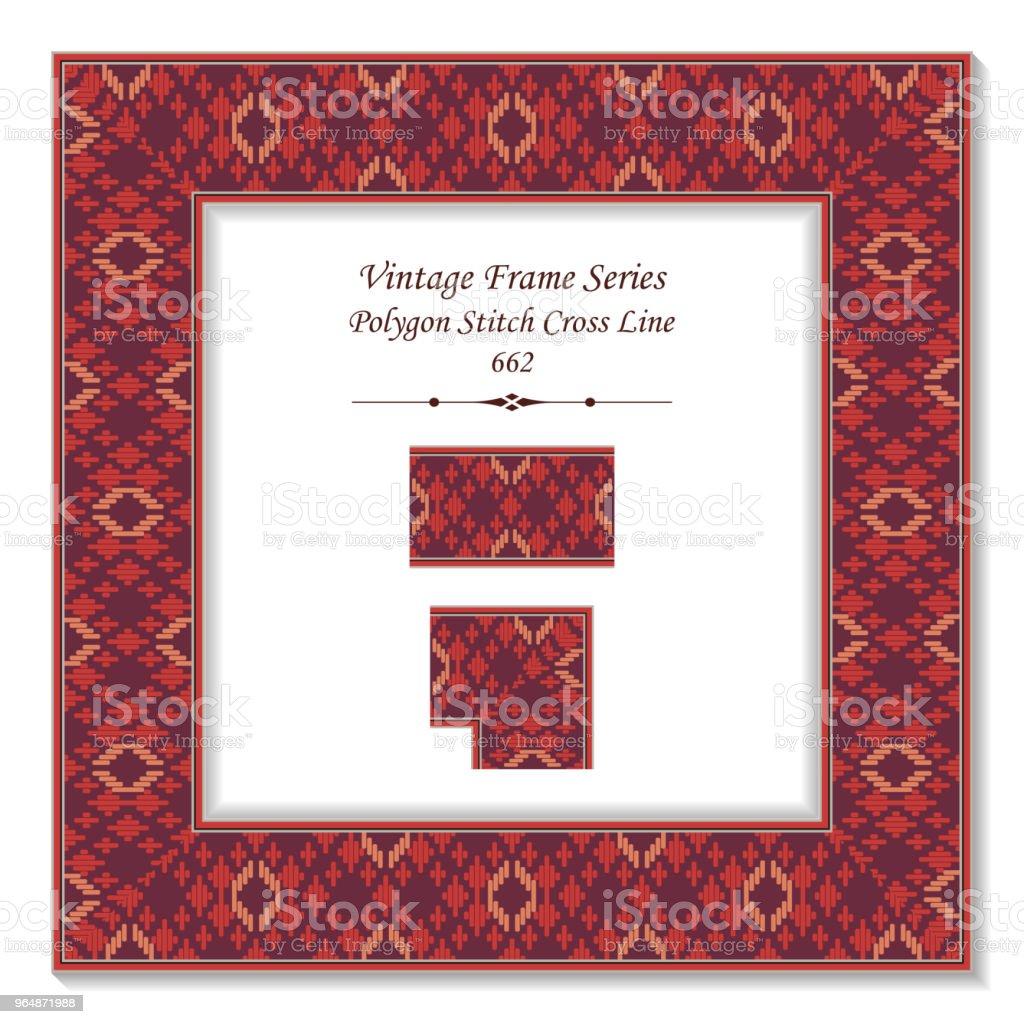 Vintage square 3D frame red polygon stitch cross line royalty-free vintage square 3d frame red polygon stitch cross line stock vector art & more images of backdrop