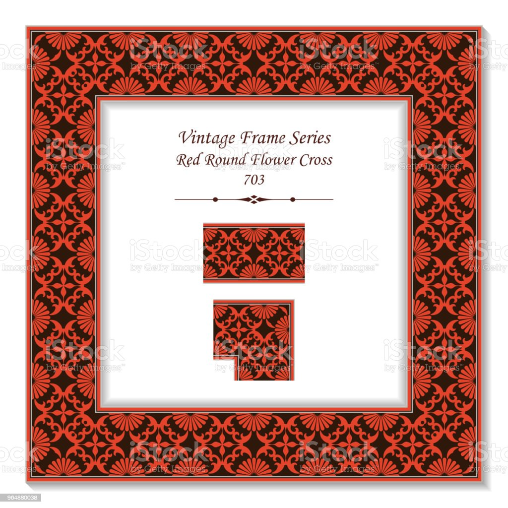 Vintage square 3D frame red round cross flower kaleidoscope royalty-free vintage square 3d frame red round cross flower kaleidoscope stock vector art & more images of baroque style