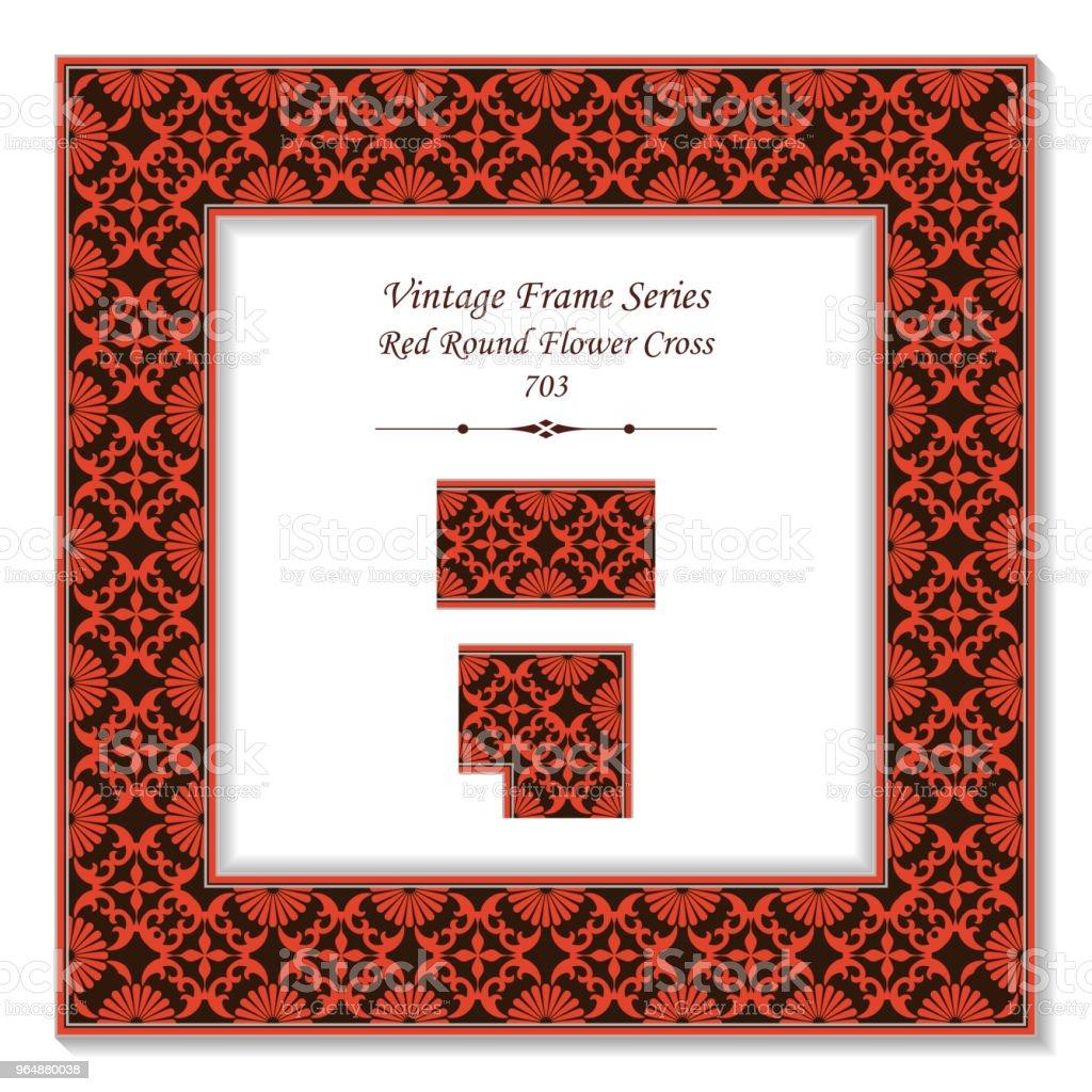 老式方形3D 框架紅圓十字花萬花筒 - 免版稅一組物體圖庫向量圖形