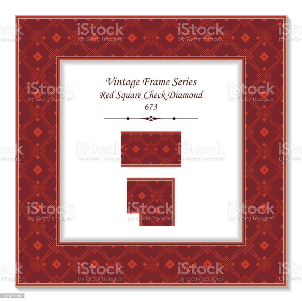 老式方形3D 框紅色方形檢查菱形 - 免版稅一組物體圖庫向量圖形