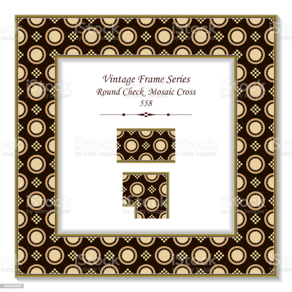 Vintage square 3D frame round check square mosaic cross royalty-free vintage square 3d frame round check square mosaic cross stock illustration - download image now