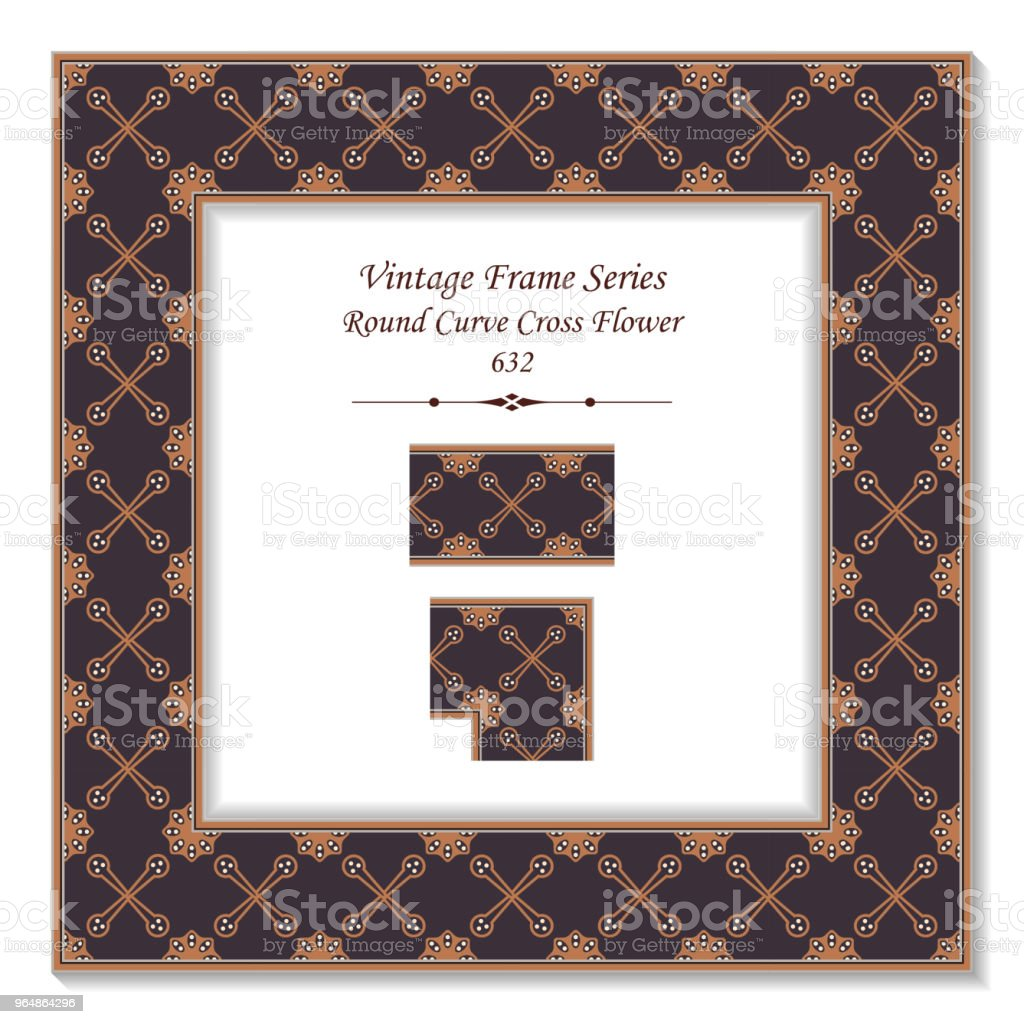 Vintage square 3D frame round curve cross flower royalty-free vintage square 3d frame round curve cross flower stock vector art & more images of backdrop