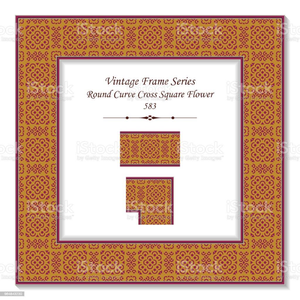 Vintage square 3D frame round curve cross square flower royalty-free vintage square 3d frame round curve cross square flower stock vector art & more images of backdrop