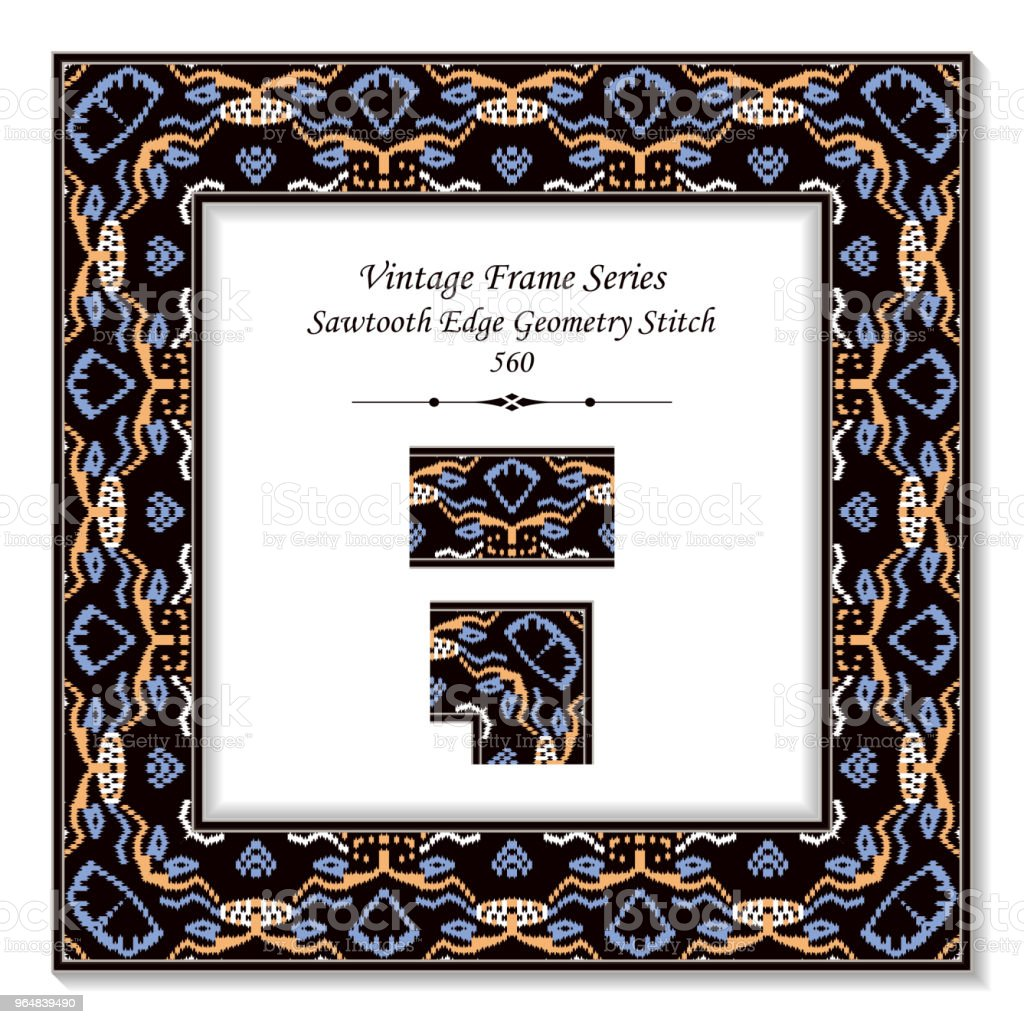 Vintage square 3D frame sawtooth edge aboriginal geometry stitch royalty-free vintage square 3d frame sawtooth edge aboriginal geometry stitch stock vector art & more images of at the edge of