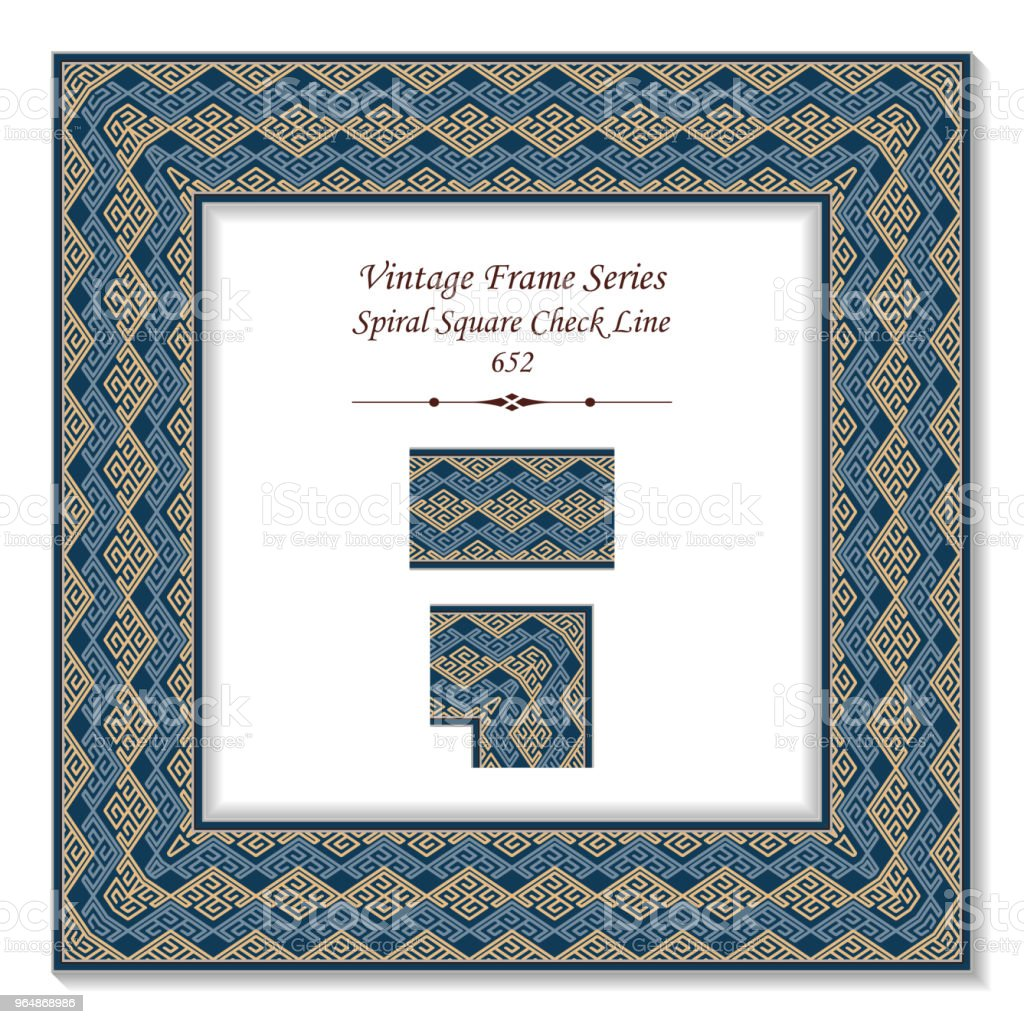 Vintage square 3D frame spiral square check tracery line royalty-free vintage square 3d frame spiral square check tracery line stock vector art & more images of backdrop - artificial scene