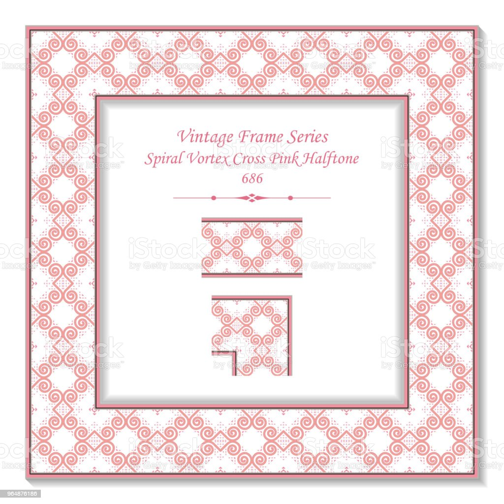 Vintage square 3D frame spiral vortex cross pink halftone royalty-free vintage square 3d frame spiral vortex cross pink halftone stock vector art & more images of backdrop - artificial scene