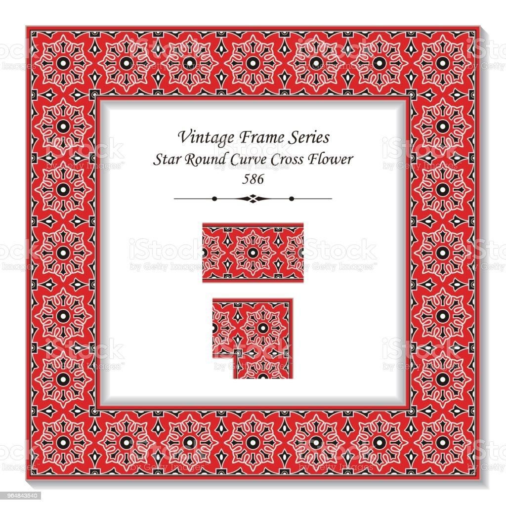 Vintage square 3D frame star round curve cross flower royalty-free vintage square 3d frame star round curve cross flower stock vector art & more images of backdrop