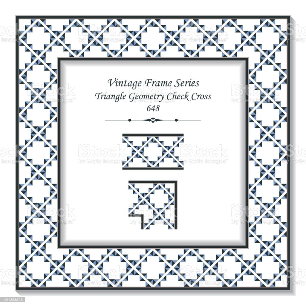 Vintage square 3D frame triangle geometry check cross royalty-free vintage square 3d frame triangle geometry check cross stock illustration - download image now