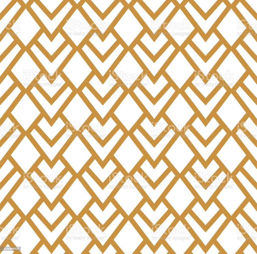 Praça vintage Arte Deco padrão sem emenda. Textura decorativa geométrica. - ilustração de arte em vetor