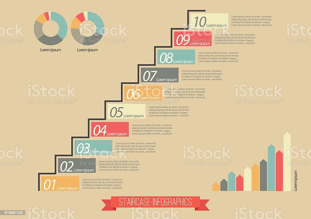 Vintage Staircase Infographic vector art illustration