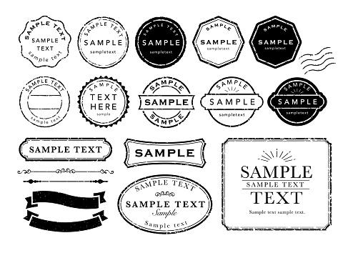 Vintage stamp frame icons