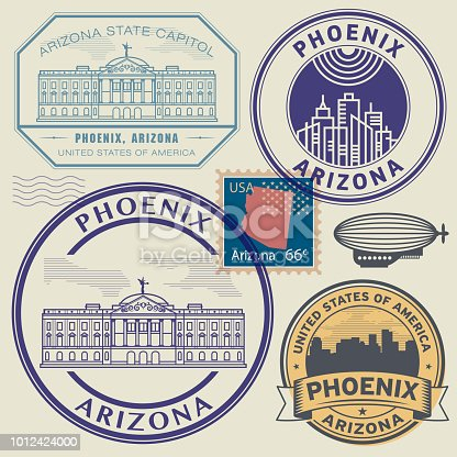 Vintage Stamps Set with name of USA State Arizona, City Phoenix, vector illustration