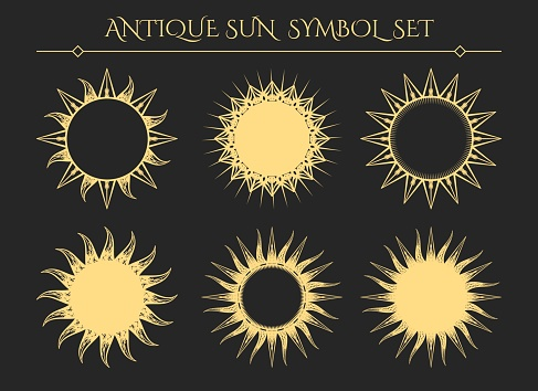 Vintage starburst mystical icons