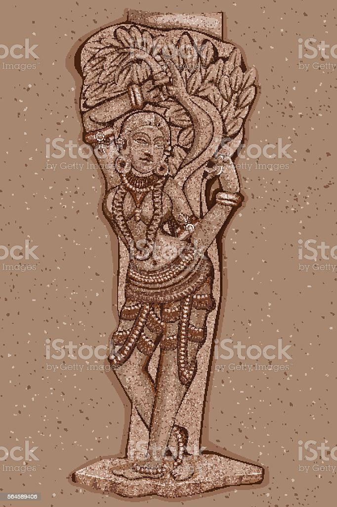 Vintage Statue of Indian female Sculpture vector art illustration